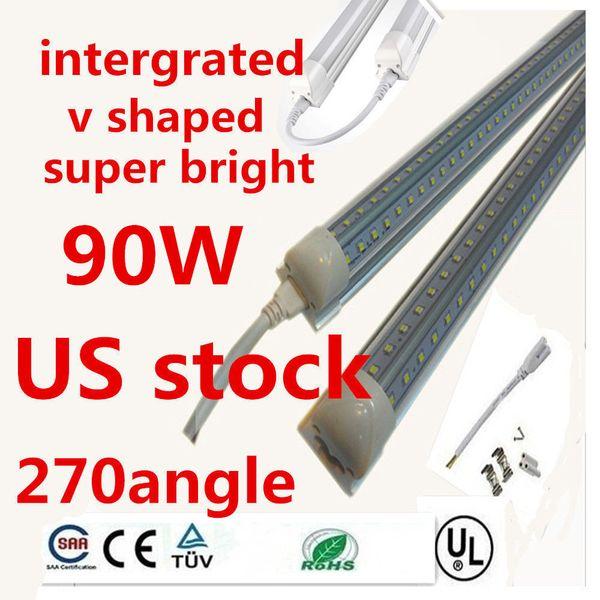 V-Shaped 2ft 3ft 4ft 5ft 6ft 8ft Cooler Door Led Tubes T8 Integrated Led Tubes Double Sides Led Lights 85-265V Stock In US