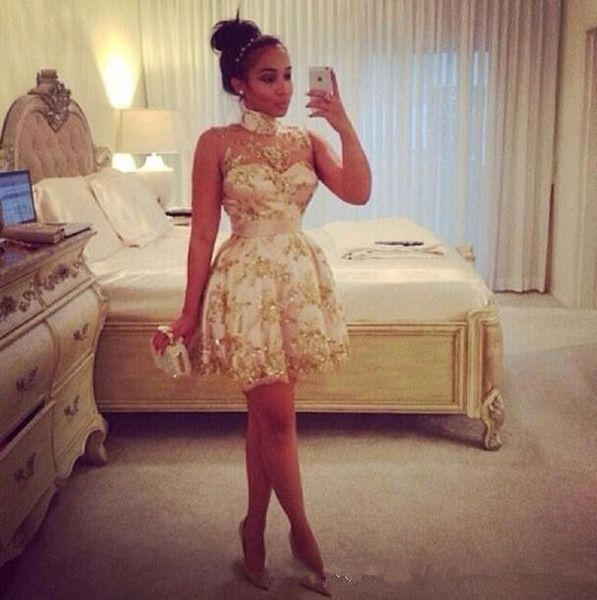 African Print Tribal Fashion Cocktail Dresses High Neck See-Through Gold Sequins Lace Mini A Line Sexy Short Party Dress