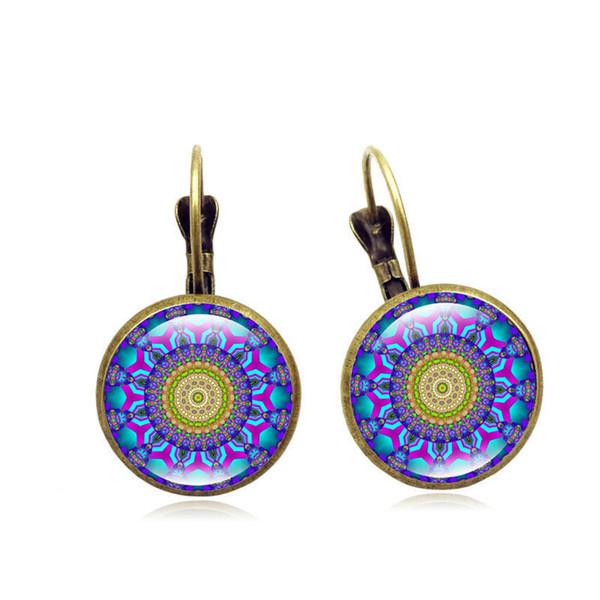 Foreign trade explosion earrings Mandala flower time gemstone earrings retro French ear hook earrings jewelry wholesale