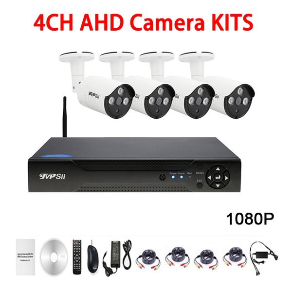 Three Array infrared Led 5mp Waterproof 4CH 4 Channel WIFI AHD CCTV Surveillance Camera DVR Kits Free Shipping