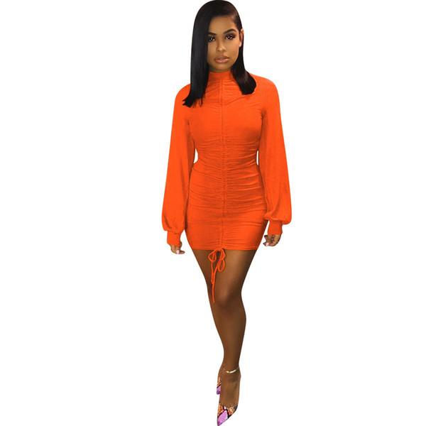New 2019 Spring Women Sexy Tie Up Lantern Long Sleeve Stand Neck Mini Midi Dress Night Party Dresses Vestidos Lm9032 T190711