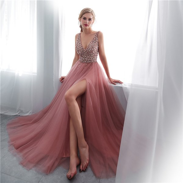 Elegant Long V Neck Prom Dresses Sleeveless Sweep Train Chiffon Side Slit A-line Formal Evening Dresses Gown vestido de noche 2019