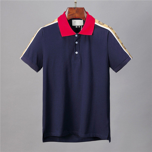 top popular 20ss Italy Brand designers polo shirt Luxury t shirts snake bee floral mens polos High street fashion stripe print polo T-shirt t5887 2020