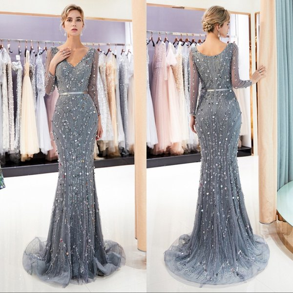 Sheer Long Sleeves V Neck Lace Mermaid Prom Evening Dresses 2019 Tulle Lace Beaded Sequins Sweep Train Formal Party Celebrity Gowns