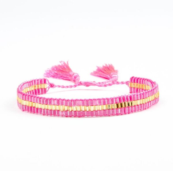 MIYUKI Japan Tube Beads Unique Design HandWoven Adjustable Waxed Thread Tassel Bracelet For Woman friendship Gift bracelet SL058