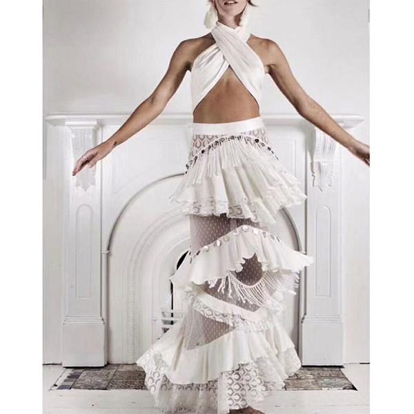 2019 verão mulheres sexy 2 peças define cross top e estilo babados saia longa saia solta de alta qualidade com borla conjuntos de moda