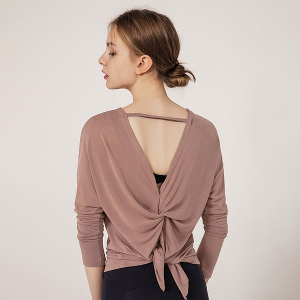 long sleeve women yoga  open back running clothes pilates loose workout sportswear quick dry dance shirts for gym fitness