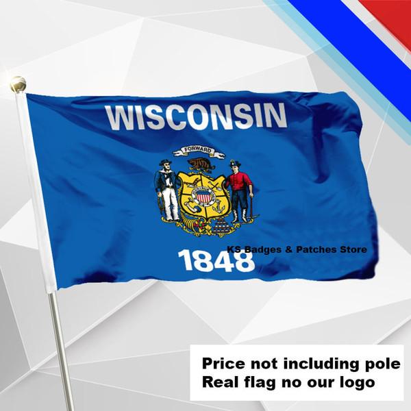 Bandeira de Wisconsin que voa a bandeira # 4 144x96 (3x5FT) # 1 288x192 # 2 240x160 # 3 192x128 # 5 96x64 # 6 60x40 # 7 30x20