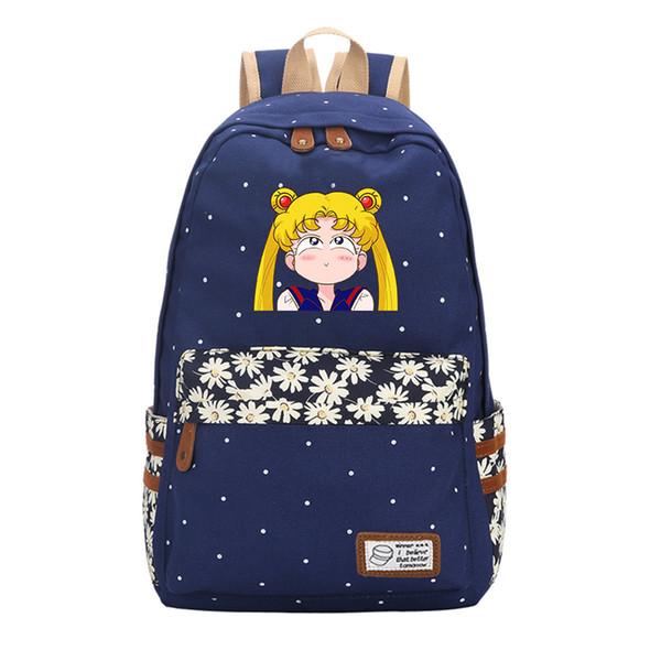 Designer-Anime Sailor Moon Wave Point Women Cute Backpack Canvas Travel Backpack Kawaii School Bags Mochila Feminina Cartoon Bagpack