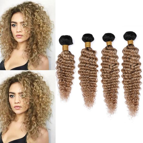 "#1B/27 Honey Blonde Ombre Deep Wave Indian Human Hair 4Bundles 400Gram Light Brown Ombre Deep Wave Curly Human Hair Weave Wefts 10-30"""
