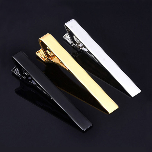 top popular Classic Men Tie Pin Clips of Casual Style Tie Clip Fashion Jewelry For Male Exquisite Wedding Tie Bar Silver And Golden Color 2021
