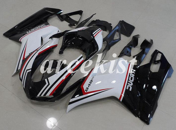 New ABS Injection Full Fairings kits Fit for Ducati 848 1098 1198 1198s 2007 2008 2009 2010 2011 2012 Body set Cool Black white