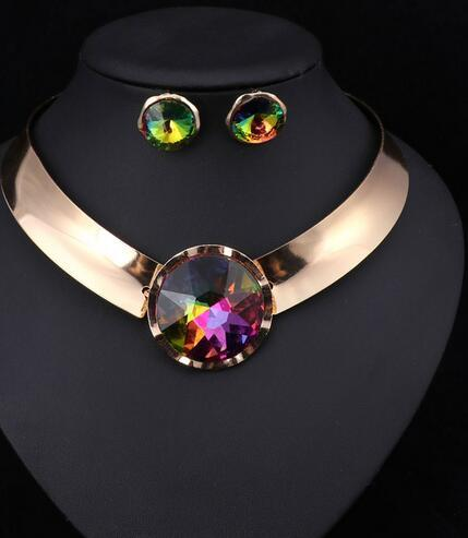 6Color Women Jewelry Sets Trendy Necklace Earrings Statement Necklace For Party Wedding Fashion 2019 Direct Selling
