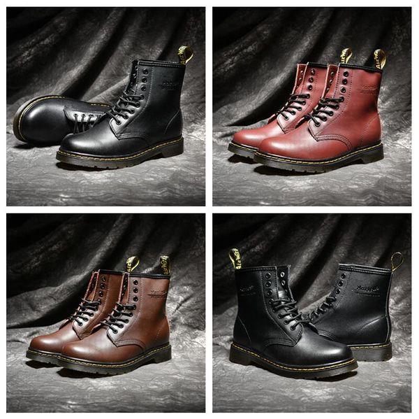 La alta calidad del Reino Unido Classic 1460 botines Martin botines invierno nieve Negro Marrón Vino rojo de las mujeres para hombre Botas de moda zapatos de diseño Tamaño 35-44