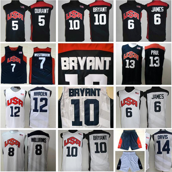 best selling Basketball 2012 Team USA Jersey 10 KB Kevin Durant LeBron 6 James 12 Harden Russell Westbrook Chris Paul Deron Williams Anthony Davis US
