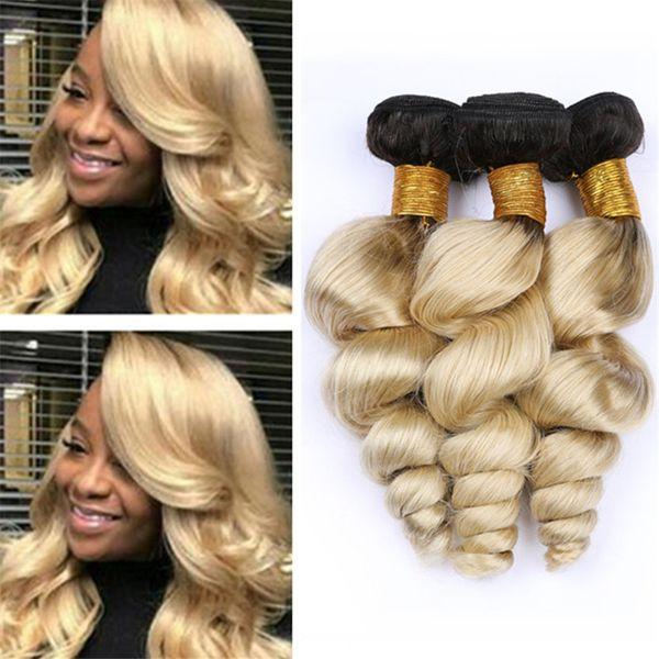 Cheap Dark Roots 1B/613 Ombre Loose Wave Human Hair Bundles Platinum Blonde Ombre Wavy Virgin Hair Weave Weft Extensions