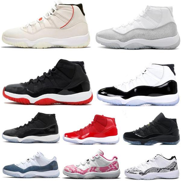 11'ler Bred Metalik Gümüş Platin Ton Concord Basketbol Ayakkabı 11 Gym Kırmızı Başlıklı ve Önlük Space Jam Kadın Erkek Sneakers Sports Ayakkabı