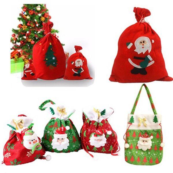 Merry Christmas Santa Sack Gift Presents Bag Hot Fashion Christmas Tree Candy Bags Wine Stocking Bottle Gift Bag Xmas Decoration