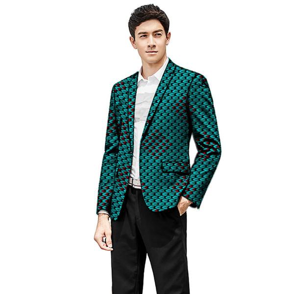 African clothing men's print blazers slim fit ankara fashion suit jacket customized for wedding wear male formal coat