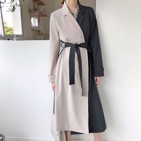 Top-Verkauf stilvolle einzigartige Patchwork Frauen Frühling Langarm Trench, erstaunlich schöne lange Mäntel Oberbekleidung