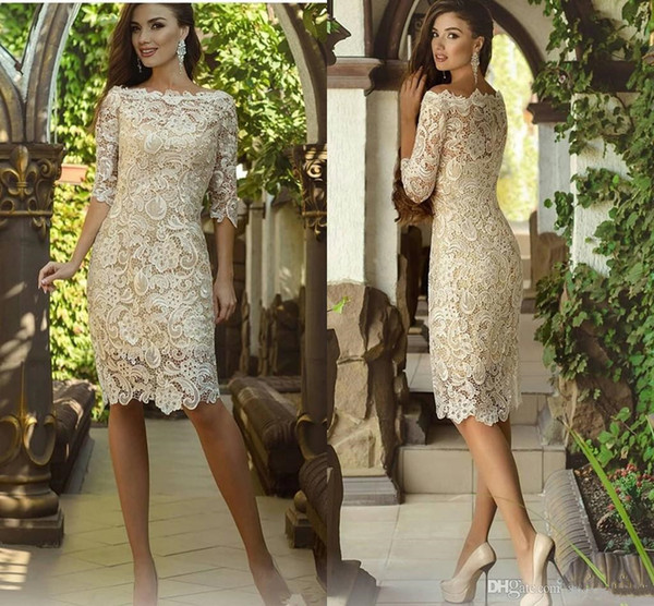 Champagne Short Lace Mother of the Bride Dresses 2019 New Knee Length Half Sleeve Sheath Wedding Party Gowns Woman Formal Party Gowns M064