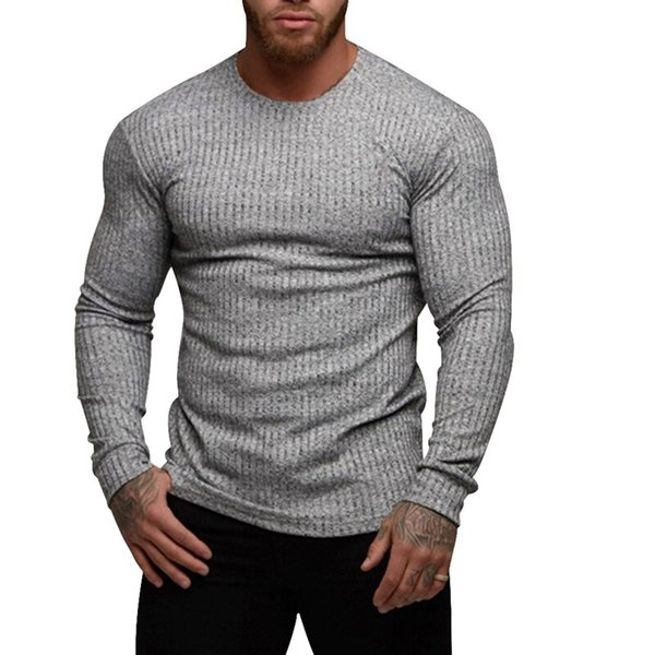 Laamei 2019 causale tinta unita uomo maglione slim fit manica lunga uomo pullover misto cotone maglieria maglieria maschile nuovo
