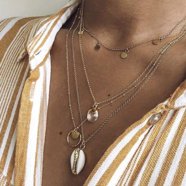 2019 Vinatge Crystal Circle Paillettes Shell collana pendente per le donne Boho Multistrato Chokers collana gioielli Boemia
