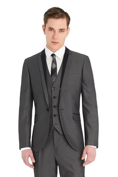 Новый жених смокинги Groomsmen одна кнопка серый пик отворотом лучший человек костюм свадебный мужской пиджак костюмы на заказ (куртка + брюки + жилет + галстук) 1338