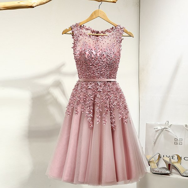 It's Yiiya Lace Many Color Illusion Flowers Beading A-line Knee Length Dinner Bridesmaids Dresses Party Short Formal Dress Lx073 J190426