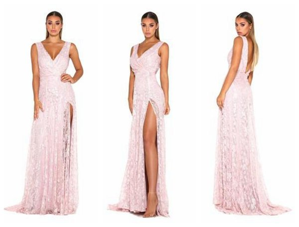 2019 In stock Hot new pink lace sleeveless V-neck split evening dress / A-Line V-neck Prom Dresses / into the store to choose more styles