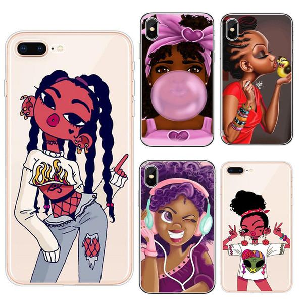 Fashion Girl caja del teléfono de diseño para Iphone 11 ProX XR XS Max 8 7 6 6s más suave capítulo de TPU Negro + trasera dura de casos Hull cubierta pintada GSZ398