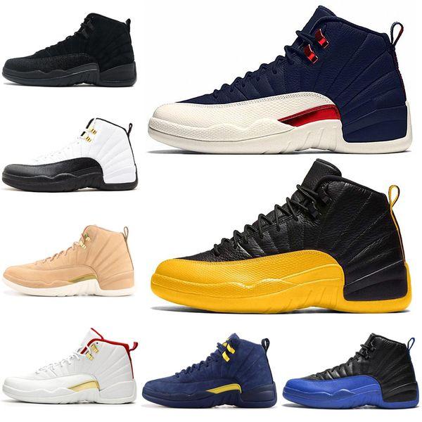 Université d'or 12 12s air JD RTO Chaussures de basket FIBA jeu royal CNY Playoff entraîneurs des hommes de sport Chaussures de sport