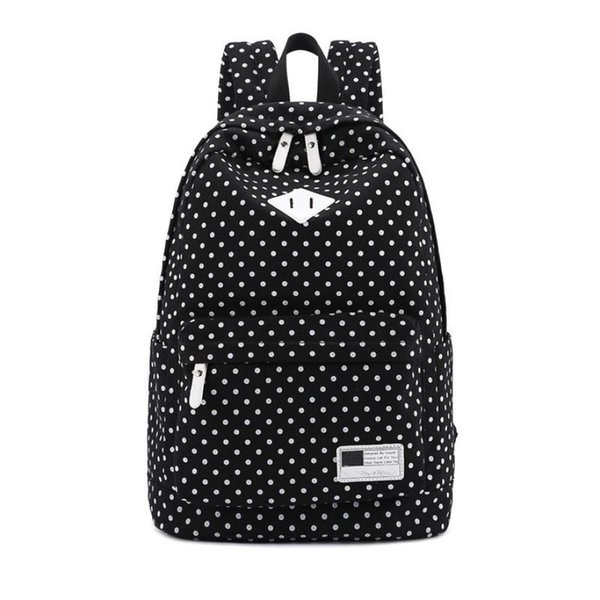 Best Deal Bags Jasmine Traveling Canvas Backpack Polka Dot School Shoulder Bag Travel Rucksacks Sep27