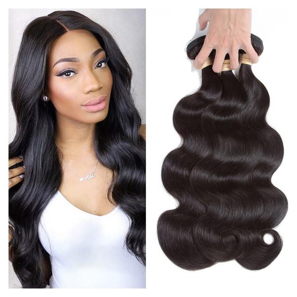 8A Grade Brasilianisches Menschenhaar-Körper-Welle 3 bündelt reine menschliche Haar-Webart Bundles peruanisches indisches reines Haar insgesamt 300g natürliche schwarze Farbe