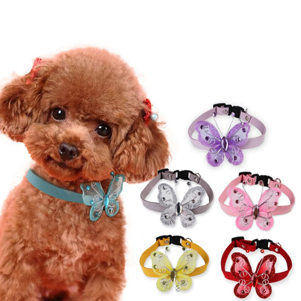 Einstellbare Haustier Halskette Welpen Kitty Schmetterling Sicherheitsgurt Schnalle Kragen Tägliche Walking Party Hochzeit Zubehör Hundehalsband