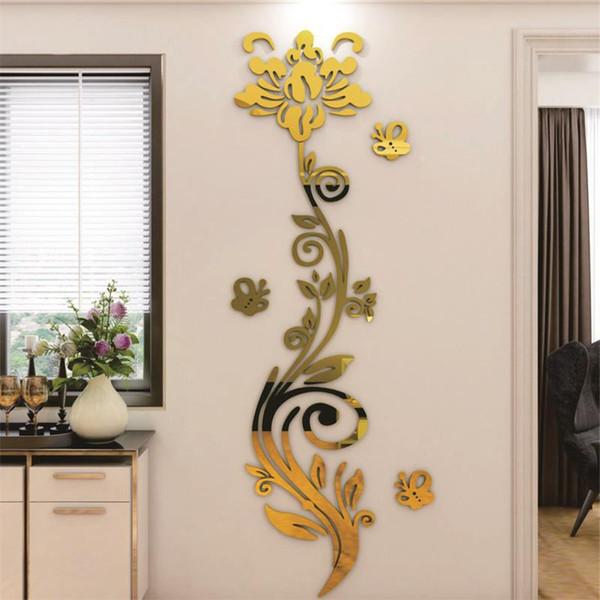 Acrylique 3d autocollant mural autocollant fleur d'or salon porche TV fond décoration murale affiche Entrée papier peint