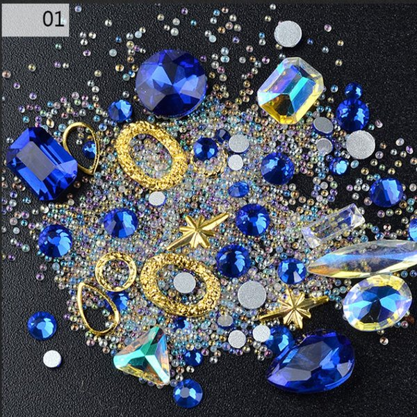 3D adornos del arte del clavo, Diamante transparente AB Rhinestone Crystal Glass Drill Jewelry Elf remaches, micro bolas de uñas suministros de uñas
