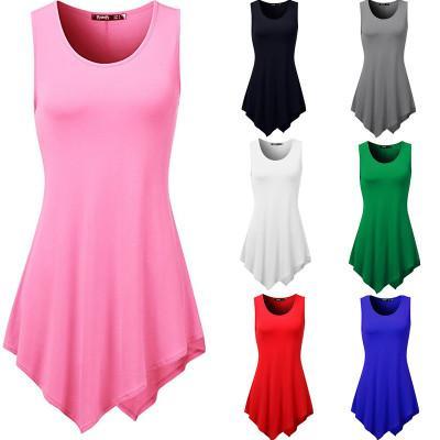 Cotton Sleeveless Tank Top Long Tee Women Unregular Piping T-shirt Crew Neck Short Sleeve Girl T Shirt Vestidos