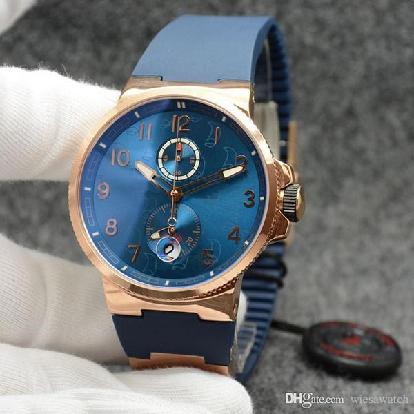 Herren Armbanduhr mit rundem Zifferblatt So blau wie der Ozean und Chronometer Dual Time Quartz Outdoor Herrenuhren mit blauem Kautschukband
