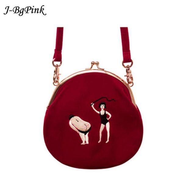 Velvet Bag women Vintage bag Velvet Embroidery Women Messenger Bags In Semi-circle Round Shape Original Designed Y190619