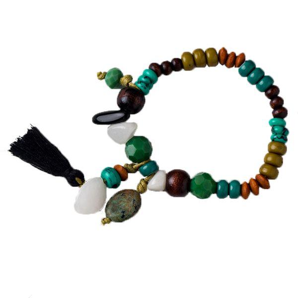 Ethnic Handmade Color Beaded Bracelet For Women Vintage Black Cotton Tassel Bracelet Geometric Simple Strands Jewelry Accessories Wholesale
