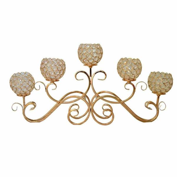5 Head Metal Candle Holder Gold / Silver Plated Candelero Mesa de Cristal Candelabras Home Hotel Centros de Boda Decoración
