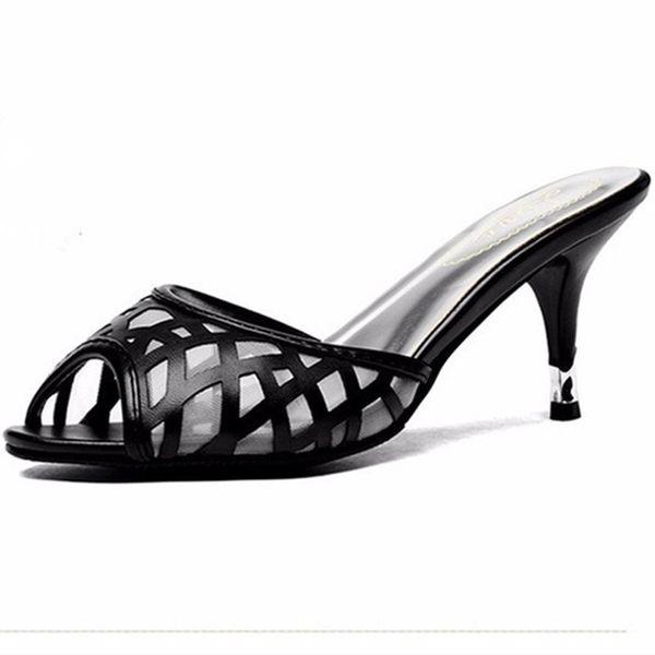 Lady Air Mesh Thin High Heels Sandal Sexy Summer Peep Toe Shoes Women Pumps Slides High Heels Slippers Black Plus Size EU42 43