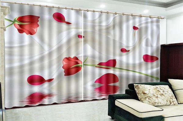 Printing Blackout 3D Window Curtain White Silk Red Rose Petals HD Digital Print 3d Beautiful Blackout Curtains