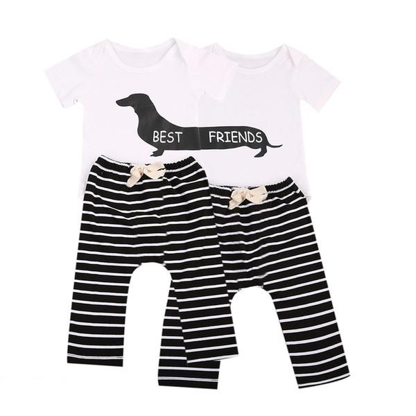 Großhandel Tem Doge 2 Stücke Säuglingszwillinge Baby Mädchen Jungen Beste Freunde Kurzarm Strampler + Gestreifte Hosen Outfit Kleidung Y190515 Von