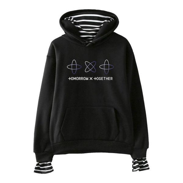 FADUN Domani X insieme stampa falso due pezzi Felpe con cappuccio 2019 vendita calda casuale donne felpe Kpops Harajuku Plus Size