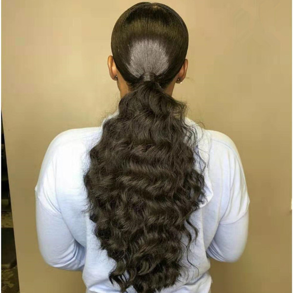 10 22 100 Real Human Hair Body Wave Wrap Around Ponytail Extension For Woman 140g18 4 Ponytails Hairstyles Hairstyles Ponytail From Echoli2012
