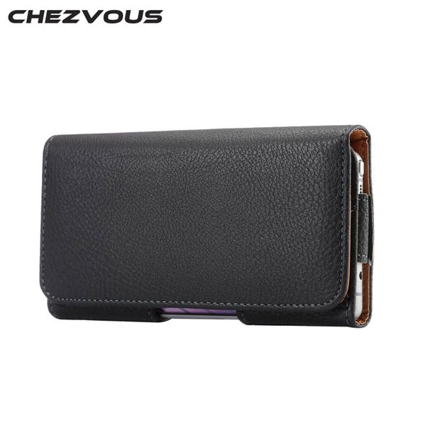 CHEZVOUS Universal 5.2 inch Belt Clip Holster Leather Mobile Phone Cases Pouch For Samsung Galaxy S6 edge S7 S6 S5