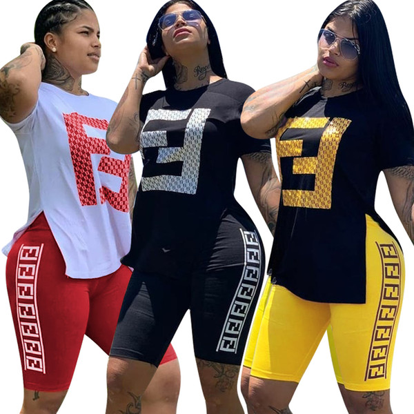 FF letter tracksuit 2 piece set woman hot stamping sports pants suit girl short sleeves and pants summer clothing 311