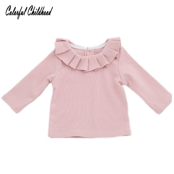 Spring Baby Girl T-shirts infant newborn Tops Kids Long Sleeve Blouse Girls Ruffles Lotus Leaf Collar Tees Children Clothing